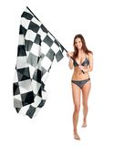 Beautilful girl waving racing flag Stock Images