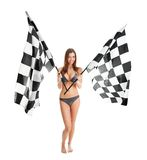 Beautilful girl waving racing flags Stock Image