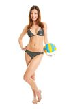 Beautilful volleyball player woman in swimwear Stock Images