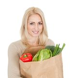 Beautilful woman with grocery bag Royalty Free Stock Image