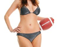 Beautilful woman posing with football ball Royalty Free Stock Photography
