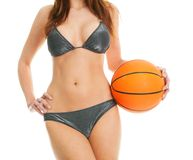 Beautilful woman posing with football ball Royalty Free Stock Image
