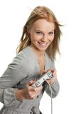 Beautilful young woman playing videogames Royalty Free Stock Images