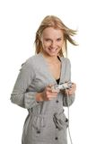 Beautilful young woman playing videogames Stock Photos