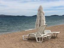 Beautirul sand beach near Sibenik, in Dalmatia, region in Croatia stock photography