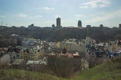 Beautiufl gekleurde gebouwen in Kiev Stock Afbeeldingen