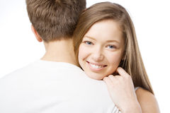 Beautiufl girl leaning on boyfriend's shoulder Royalty Free Stock Photo