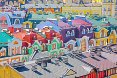 Beautiufl ha colorato le costruzioni a Kiev Fotografia Stock Libera da Diritti