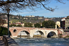 Beautiful Ponte Pietra (Stone Bridge) over Adige River in Verona Royalty Free Stock Photo