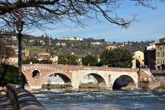 Beautiful Ponte Pietra (Stone Bridge) over Adige River in Verona royalty free stock photo