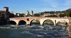 Beautiful Ponte Pietra (Stone Bridge) over Adige River in Verona Royalty Free Stock Image