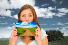 Beautiuful woman and meadow road Stock Images