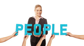 Beautiuful woman with the word PEOPLE Royalty Free Stock Image