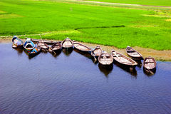 Beautiufull bangladesh. Closeup natural view of Bangladesh,boat in the rive bank and green rice field Stock Images