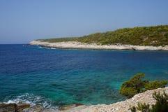 Beautiul海滩在克罗地亚 库存图片