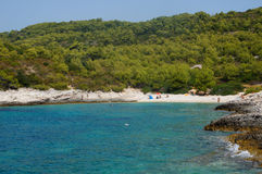 Beautiul海滩在克罗地亚 免版税库存图片