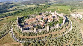 Beautiul aerial view of Monteriggioni, Tuscany medieval town on. The hill Stock Photography