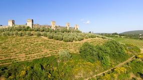 Beautiul aerial view of Monteriggioni, Tuscany medieval town on. The hill Stock Photos