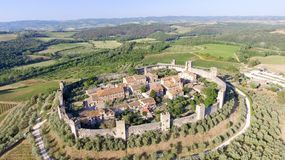 Beautiul aerial view of Monteriggioni, Tuscany medieval town on. The hill Stock Photo