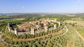 Beautiul aerial view of Monteriggioni, Tuscany medieval town on Stock Photo