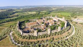 Beautiul aerial view of Monteriggioni, Tuscany medieval town on Royalty Free Stock Photo