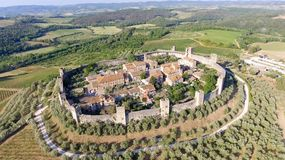 Beautiul aerial view of Monteriggioni, Tuscany medieval town on Royalty Free Stock Photography