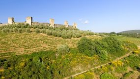 Beautiul aerial view of Monteriggioni, Tuscany medieval town on Stock Image