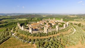 Beautiul aerial view of Monteriggioni, Tuscany medieval town on Stock Images