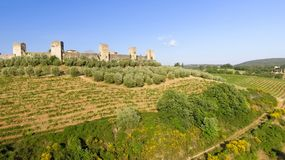 Beautiul aerial view of Monteriggioni, Tuscany medieval town on Stock Photos