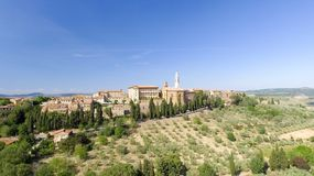 Beautiul aerial view of Pienza, Tuscany medieval town on the hil Stock Photos