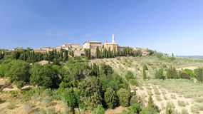 Beautiul aerial view of Pienza, Tuscany medieval town on the hil Royalty Free Stock Image