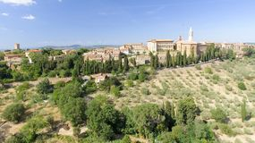 Beautiul aerial view of Pienza, Tuscany medieval town on the hil Royalty Free Stock Photo