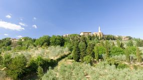 Beautiul aerial view of Pienza, Tuscany medieval town on the hil Stock Photo