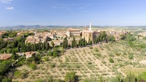 Beautiul aerial view of Pienza, Tuscany medieval town on the hil Stock Image