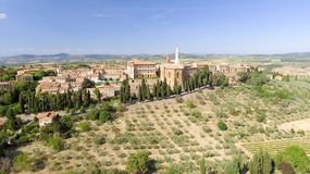 Beautiul aerial view of Pienza, Tuscany medieval town on the hil Royalty Free Stock Photography