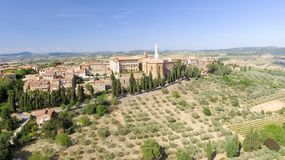 Beautiul aerial view of Pienza, Tuscany medieval town on the hil Stock Photography