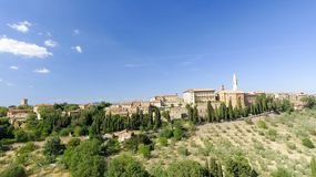 Beautiul aerial view of Pienza, Tuscany medieval town on the hil Stock Images