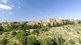 Beautiul aerial view of Pienza, Tuscany medieval town on the hil Royalty Free Stock Images