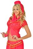 Beautiul blonde woman in orient beauty costume. Royalty Free Stock Photography