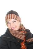 Beautiul stilvolle Frau in der Winterausstattung stockfoto