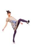 Beautiul woman kicking Stock Images