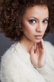 Beautiul woman. Posing on dark background Royalty Free Stock Image