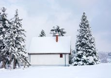 Winter scene, rural house and snow pine trees stock images