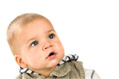 Beauttiful baby looking up Stock Image