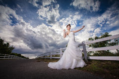 Beautuful bride in forest Royalty Free Stock Photography