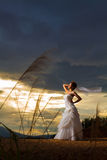 A beautuful bride in forest,cloudy twilight blue sky Stock Images