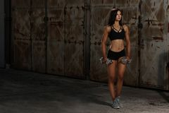 Beautuful hispanic woman workout with dumbbells studio portrait Stock Image