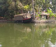 House boat on backwater stock image