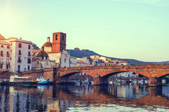 Beautuful sunset in the little town. Boda. Sardinia. Italy. Royalty Free Stock Photos