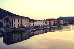Beautuful sunset in the little town. Boda. Sardinia. Italy. Royalty Free Stock Photography